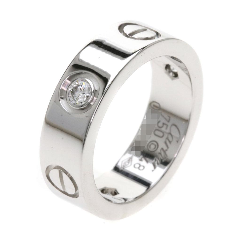 CARTIER ラブリング ハーフダイヤモンド リング・指輪 K18ホワイトゴールド レディースカルティエ2I9YEeWDH