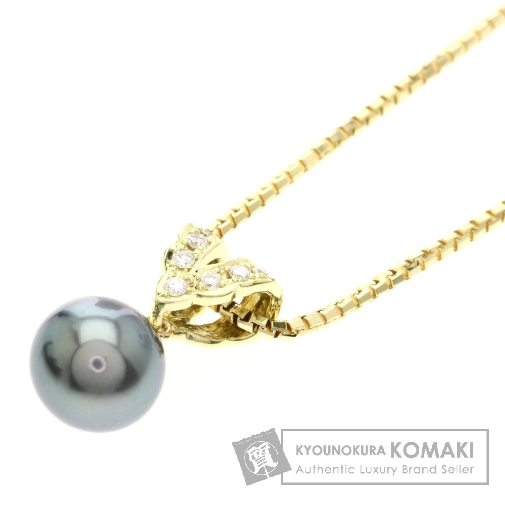 0.1ct ブラックパール/真珠/ダイヤモンド ネックレス K18イエローゴールド 7.3g レディース 【中古】