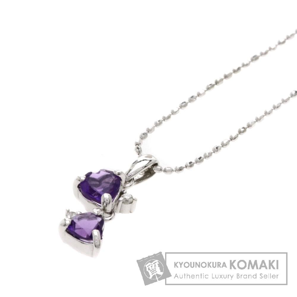 アメジスト/ダイヤモンド/ハートモチーフ ネックレス K14ホワイトゴールド 1.6g レディース 【中古】