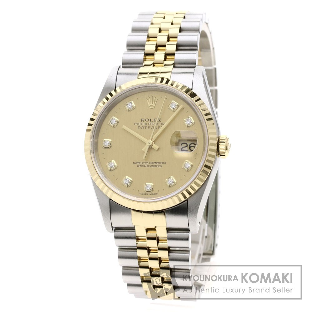 ROLEX 16233G デイトジャスト 10Pダイヤモンド コンビ 腕時計 OH済 ステンレススチール/SSxK18YG メンズ 【中古】【ロレックス】
