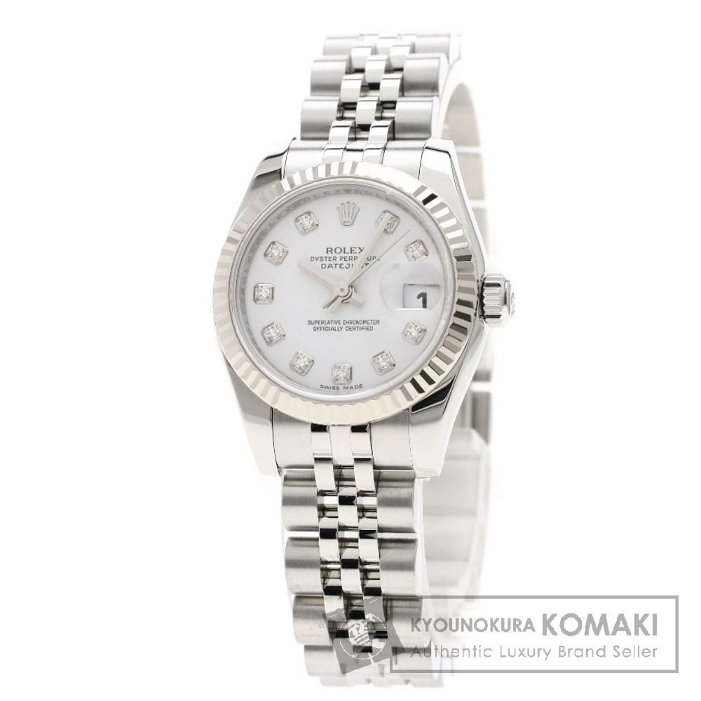 ROLEX 179174G デイトジャスト 10Pダイヤモンド コンビ 腕時計 OH済 ステンレススチール/ホワイトゴールド レディース 【中古】【ロレックス】