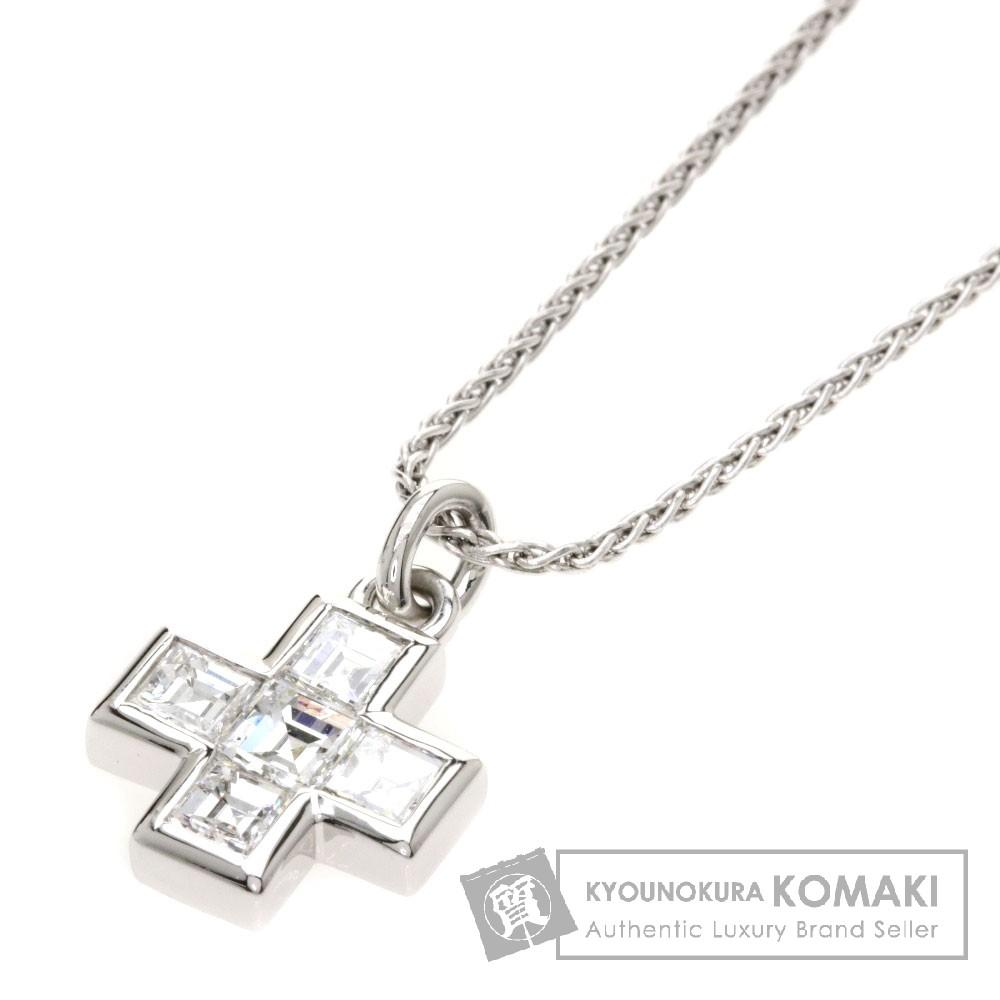 BVLGARI ダイヤモンド クロス ネックレス K18ホワイトゴールド レディース 【中古】【ブルガリ】