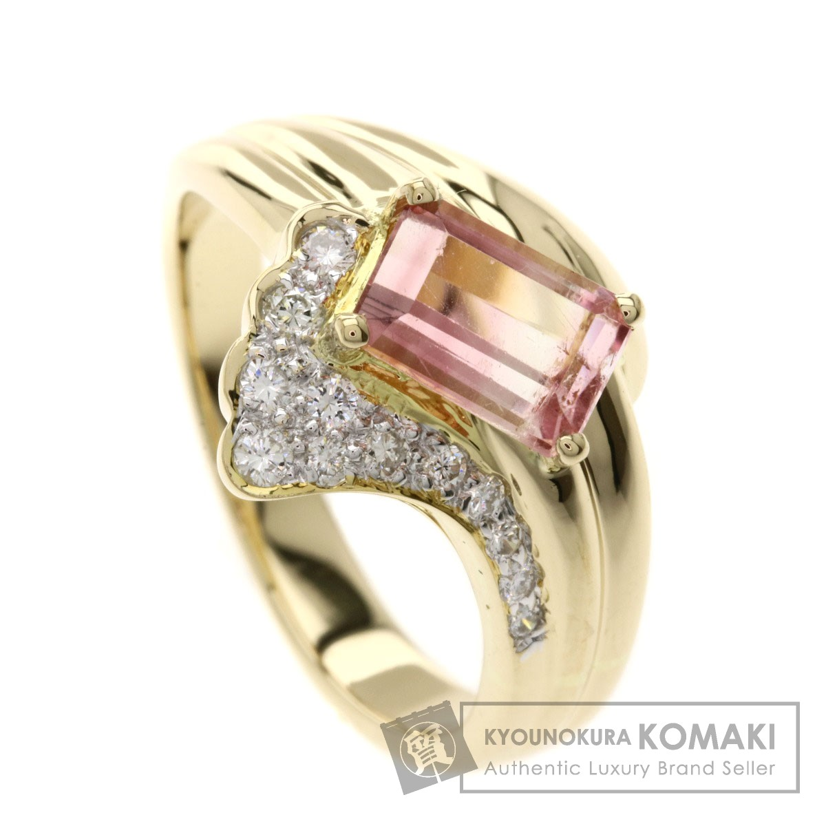 1.24ct ピンクトルマリン/ダイヤモンド リング・指輪 K18イエローゴールド 6.7g レディース 【中古】