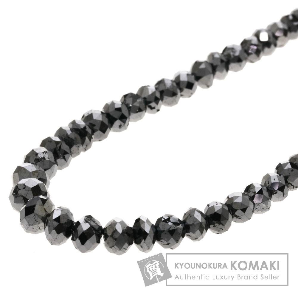 100ct ブラックダイヤモンド ネックレス K18ホワイトゴールド 20.9g レディース 【中古】
