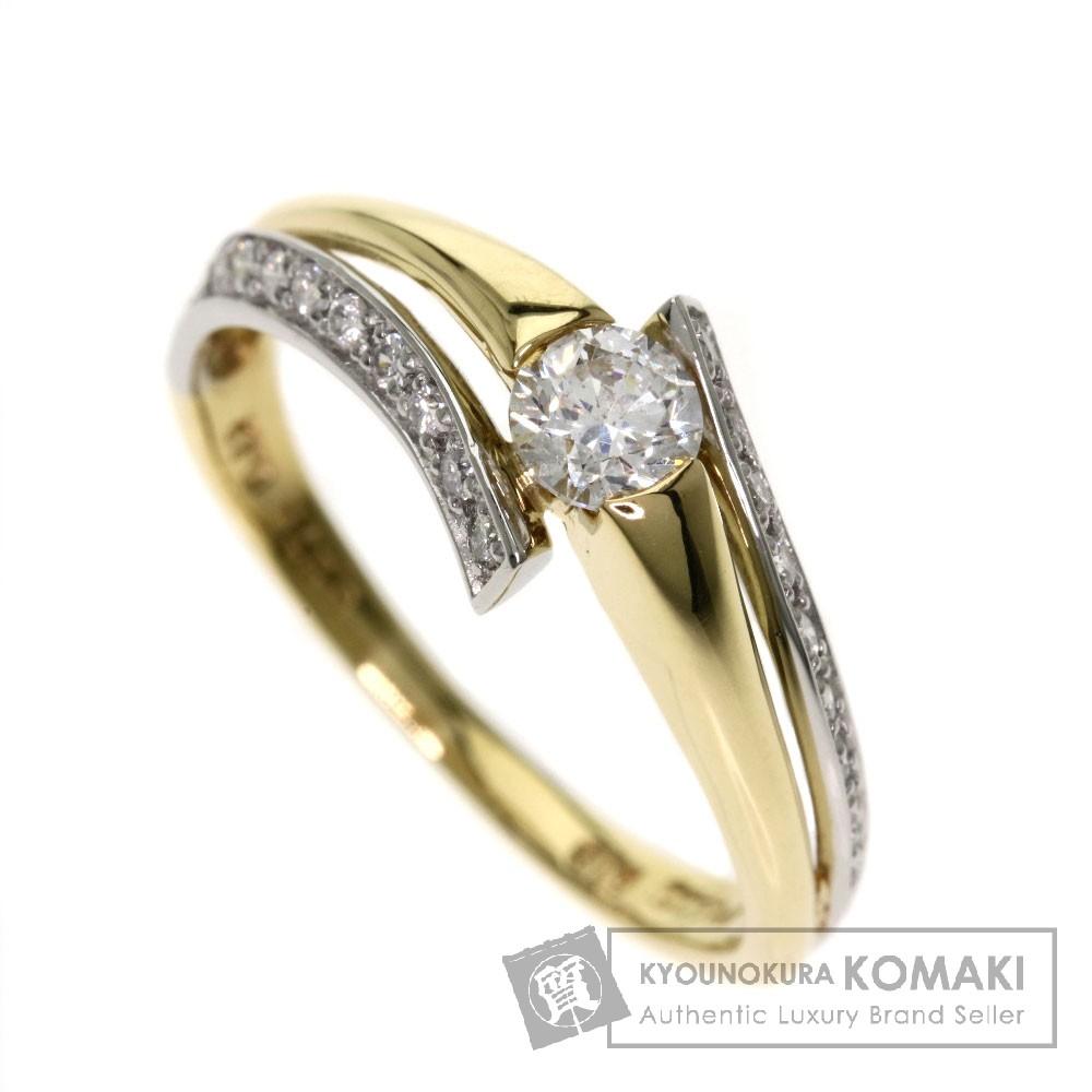 0.275ct ダイヤモンド/コンビ リング・指輪 K18イエローゴールド/PT900 3g レディース 【中古】