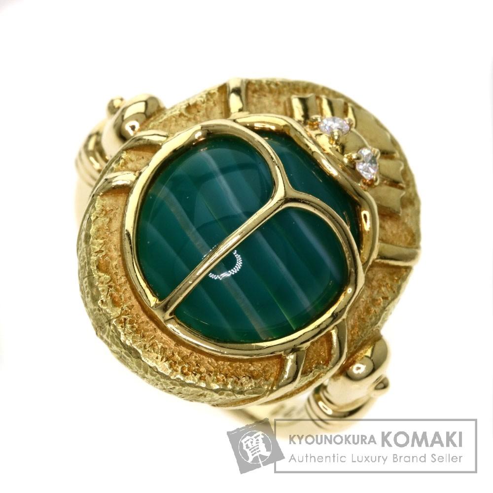 メノウ/ダイヤモンド/てんとう虫 リング・指輪 K18イエローゴールド 10.9g レディース 【中古】