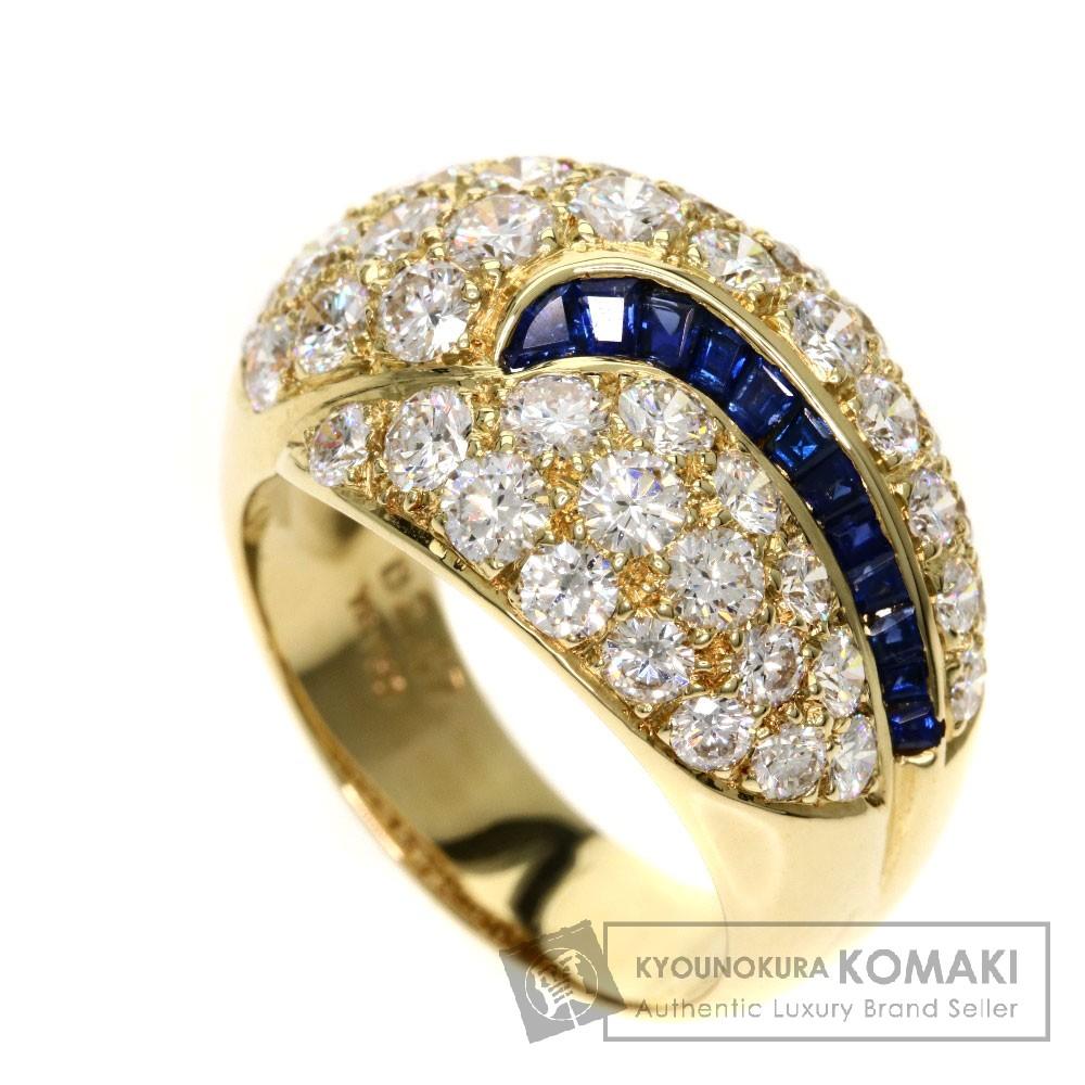 0.62ct サファイア/ダイヤモンド リング・指輪 K18イエローゴールド 8.4g レディース 【中古】