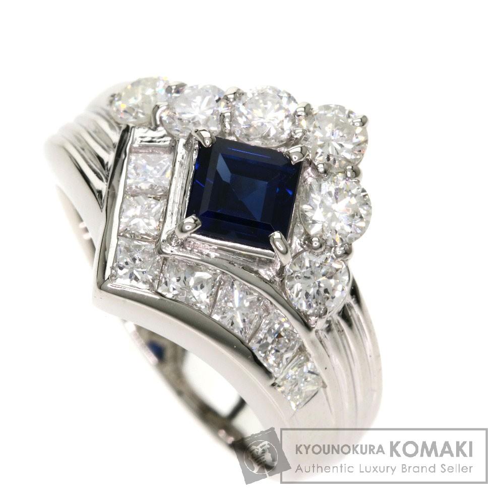 0.75ct サファイア/ダイヤモンド リング・指輪 プラチナPT900 10.5g レディース 【中古】