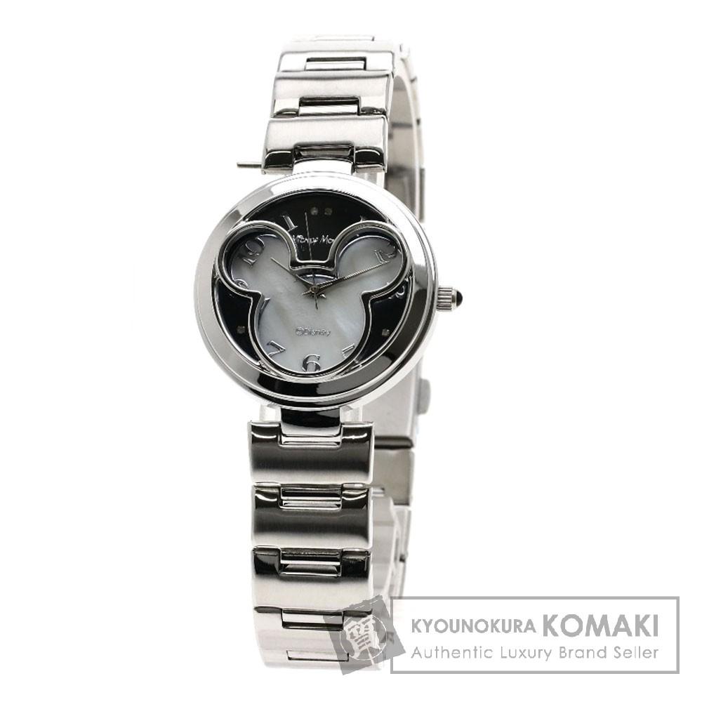 Disney ミッキーマウス型 4Pダイヤモンド 腕時計 ステンレススチール レディース 【中古】【ディズニー】
