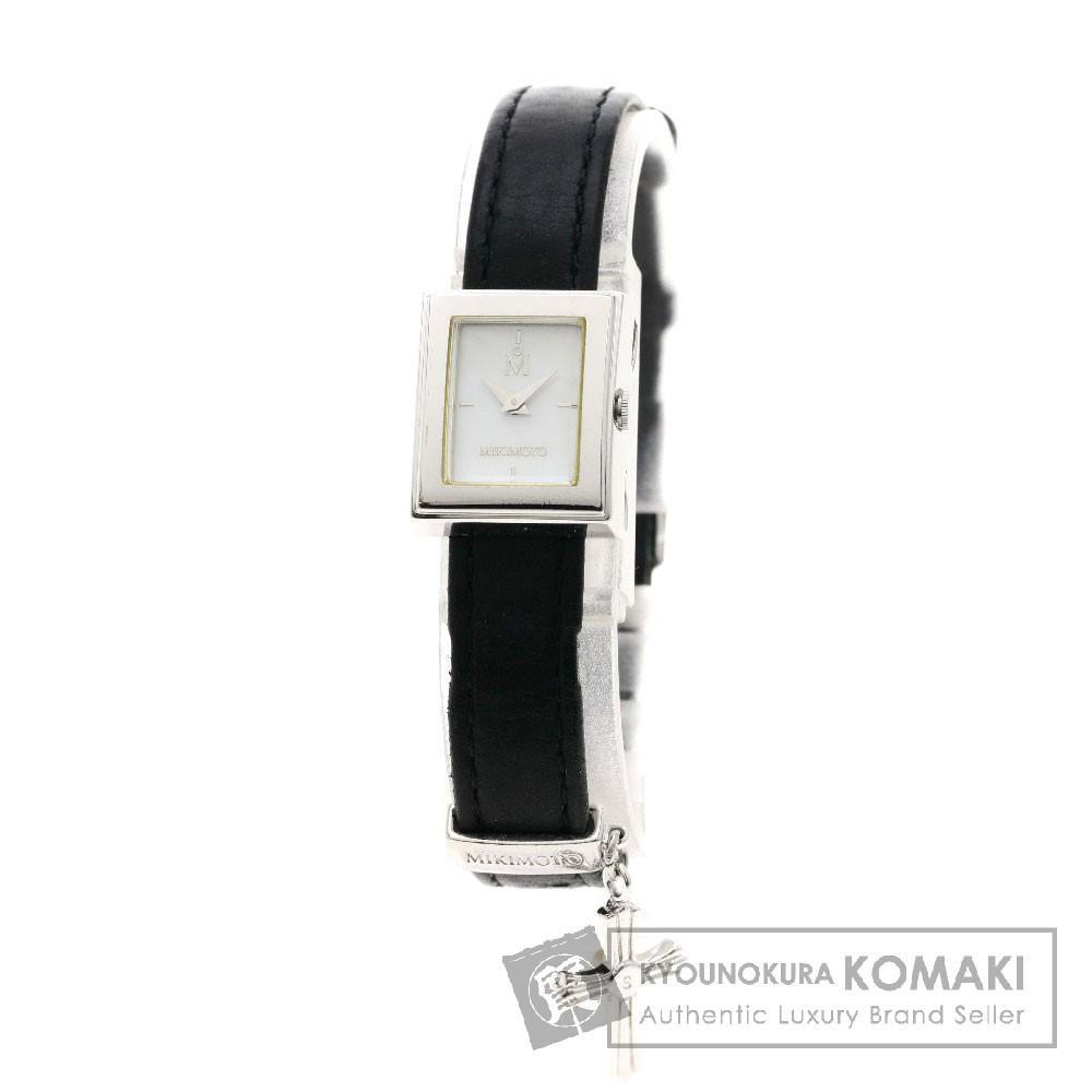 MIKIMOTO クロスチャーム 腕時計 ステンレススチール/革 レディース 【中古】【ミキモト】