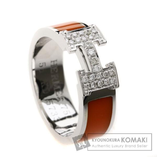 HERMES H/ダイヤモンド/オレンジエナメル リング・指輪 K18ホワイトゴールド レディース 【中古】【エルメス】