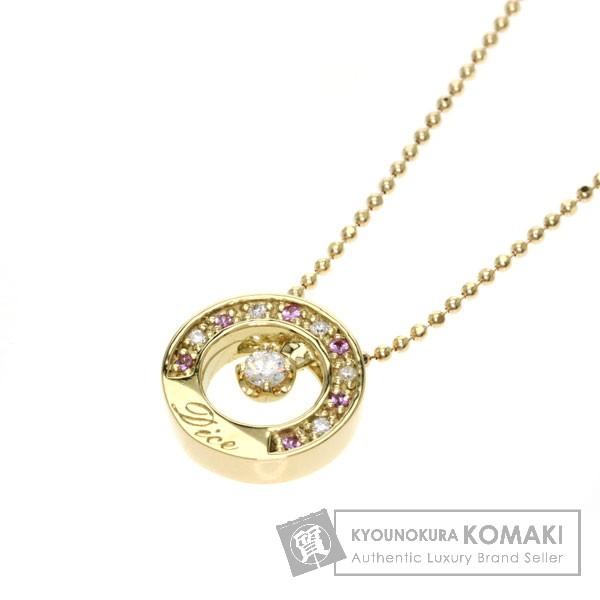 0.07ct ピンクサファイア/ダイヤモンド ネックレス K18イエローゴールド 4.6g レディース 【中古】