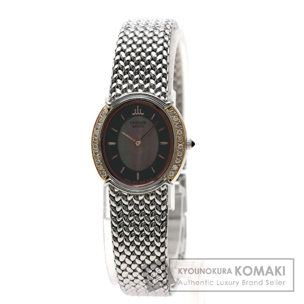 SEIKO 5A70-3000 クレドール ベゼルサイドダイヤモンド 腕時計 OH済 ステンレススチール/SS/K18PG レディース 【中古】【セイコー】