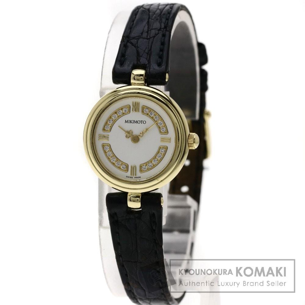 MIKIMOTO ダイヤモンド 腕時計 K18イエローゴールド/革 レディース 【中古】【ミキモト】