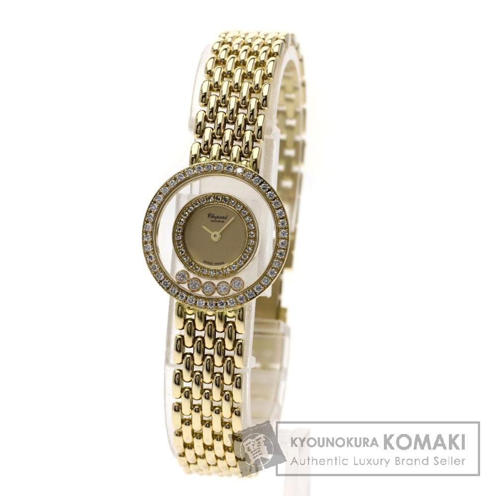 Chopard 20/5691 ハッピーダイヤモンド 腕時計 OH済 K18イエローゴールド/K18YG レディース 【中古】【ショパール】