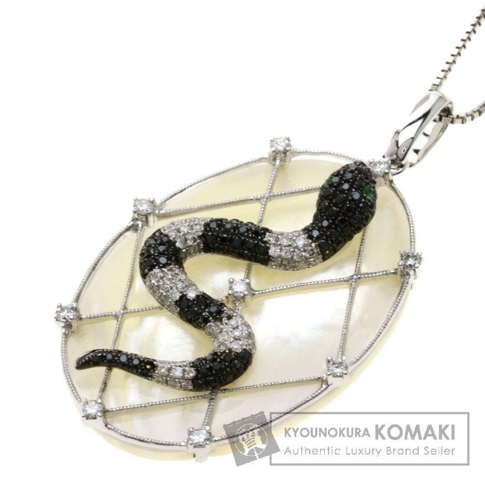 0.02ct 蛇モチーフ/エメラルド/ダイヤモンド/シェル ネックレス K18ホワイトゴールド 11.3g レディース 【中古】