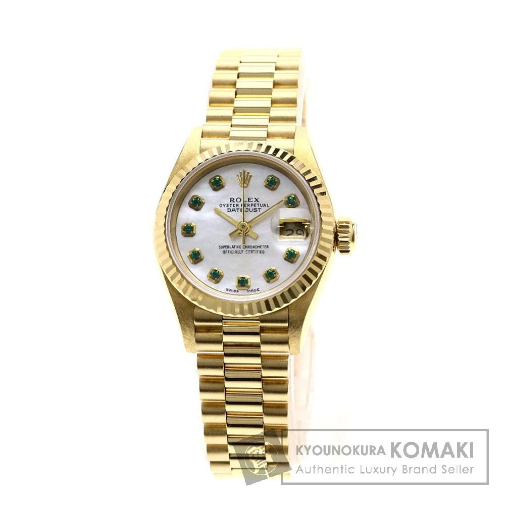 ROLEX 69178 デイトジャスト/エメラルド 腕時計 OH済 K18イエローゴールド レディース 【中古】【ロレックス】
