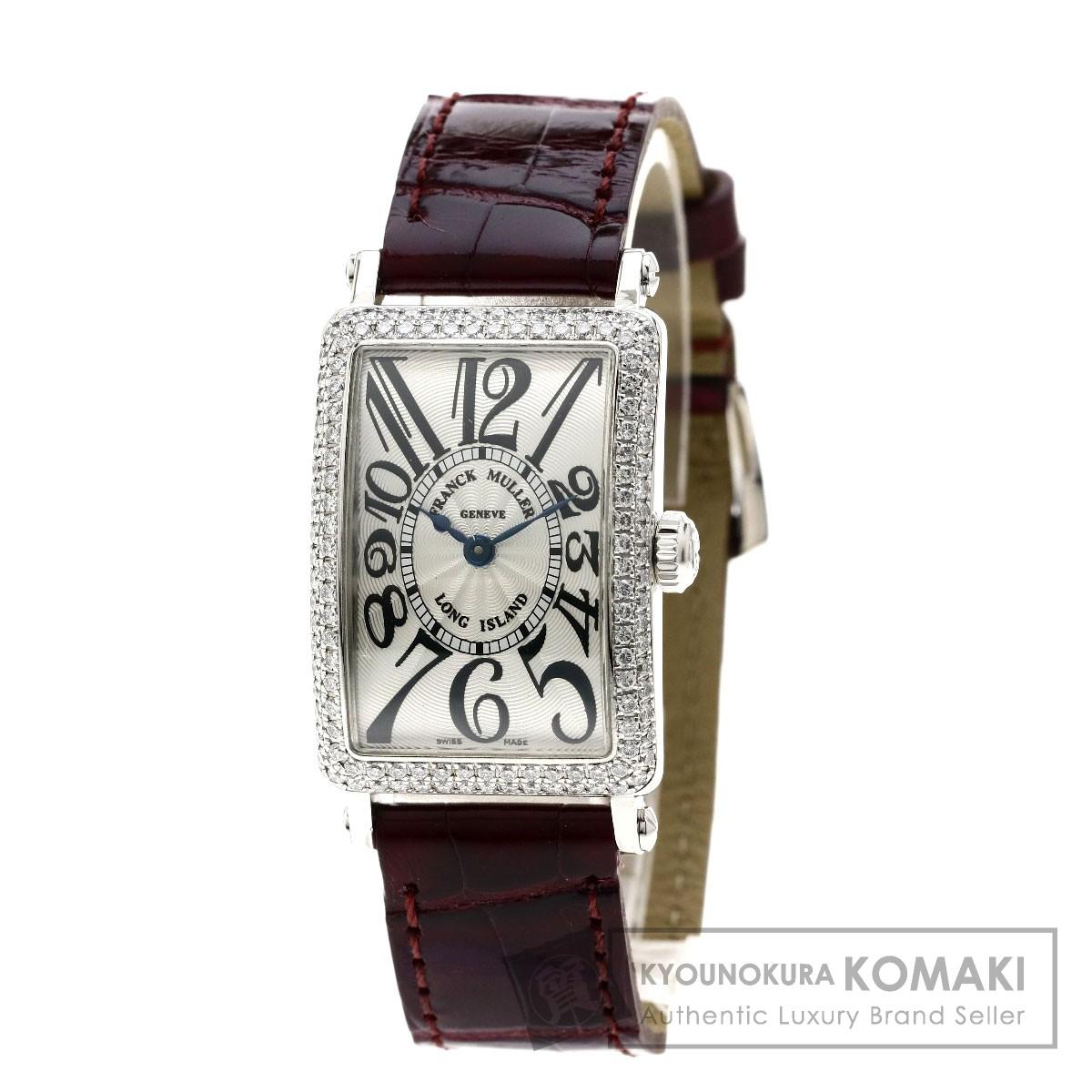 FRANCK MULLER 902QZD ロングアイランド/ダイヤモンド 腕時計 K18ホワイトゴールド/革 レディース 【中古】【フランクミュラー】