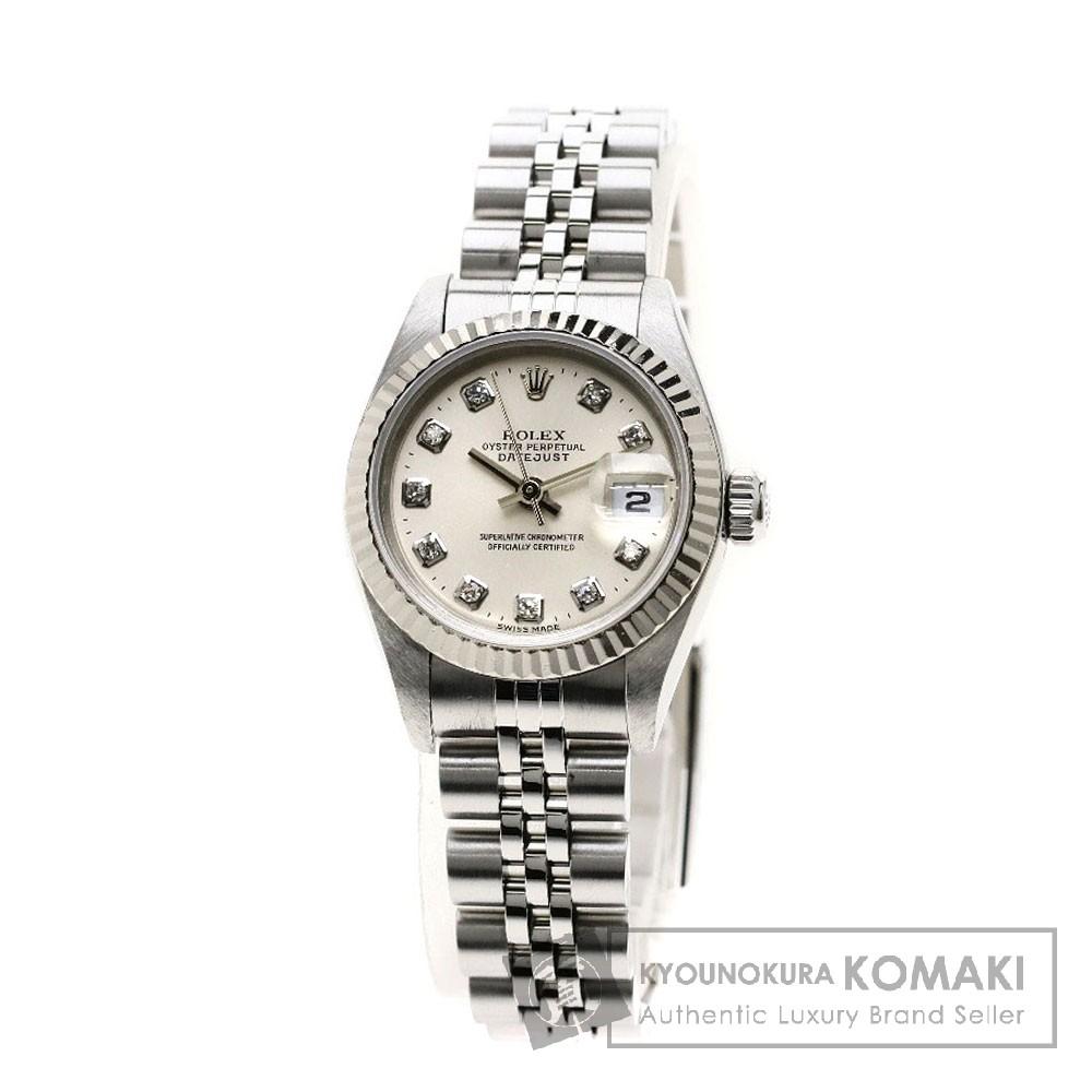 ROLEX 69174G  デイトジャスト 10Pダイヤモンド 腕時計 OH済 ステンレススチール レディース 【中古】【ロレックス】
