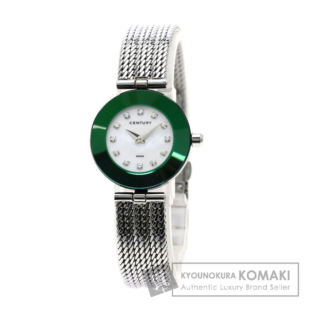 CENTURY プライムタイム 12Pダイヤモンド 腕時計 ステンレススチール レディース 【中古】【センチュリー】