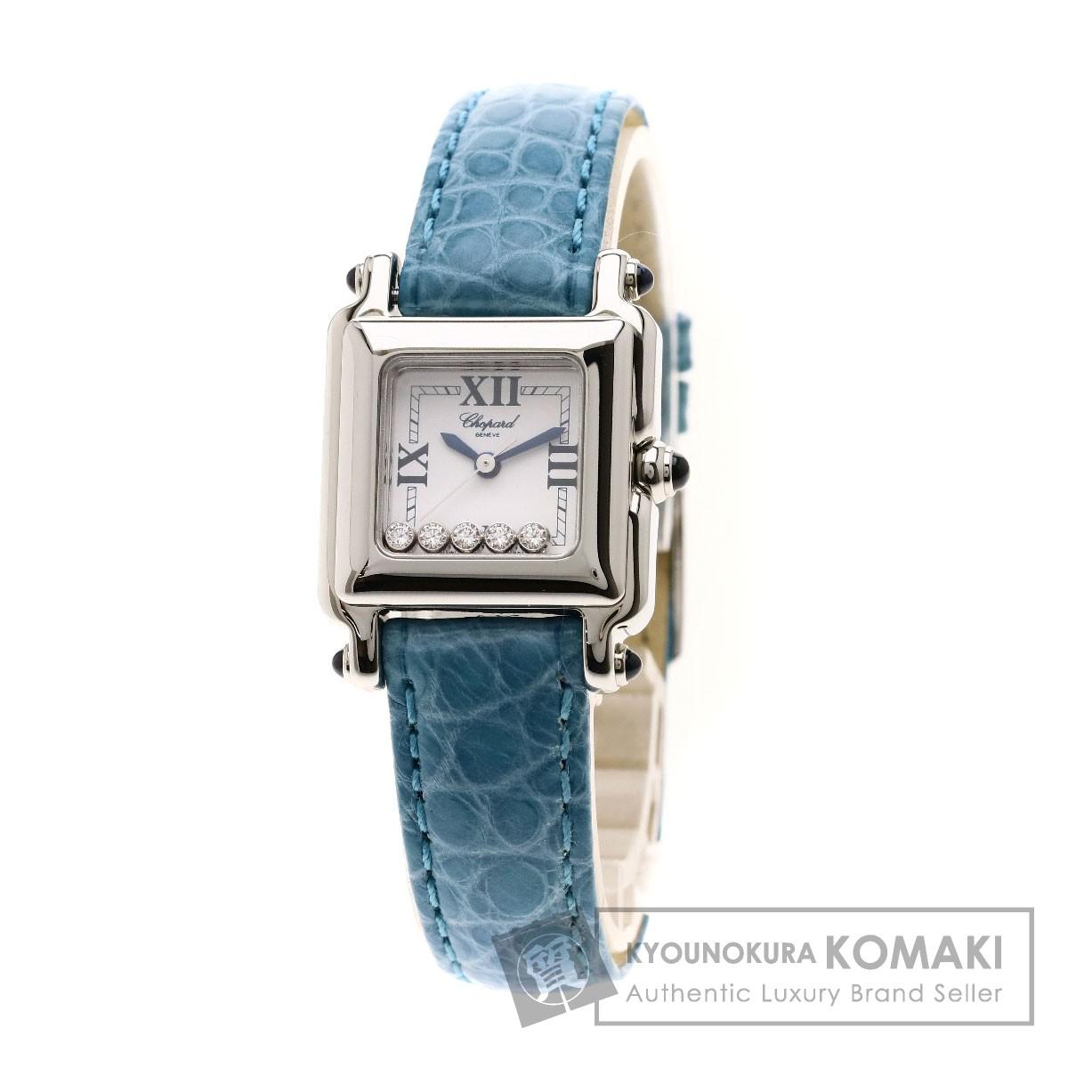 Chopard 27/8892-23 ハッピースポーツ ダイヤモンド 腕時計 ステンレススチール/革 レディース 【中古】【ショパール】