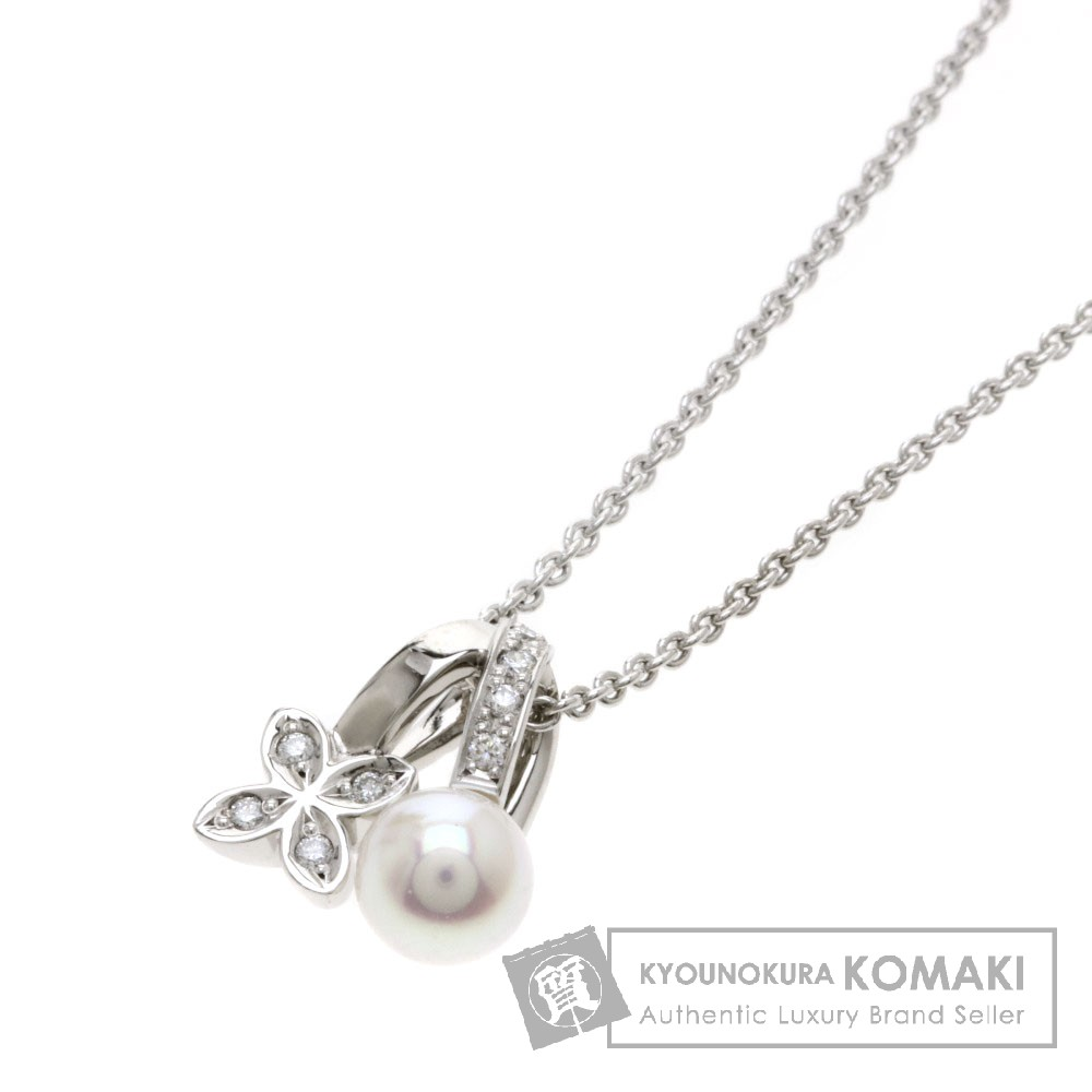 MIKIMOTO パール/真珠/ダイヤモンド ネックレス K18ホワイトゴールド レディース 【中古】【ミキモト】