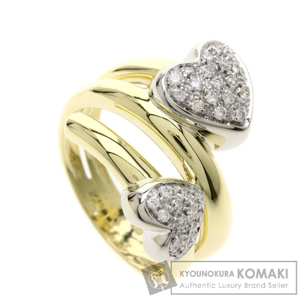 Ponte Vecchio ハート ダイヤモンド リング・指輪 K18イエローゴールド/K18WG レディース 【中古】【ポンテヴェキオ】