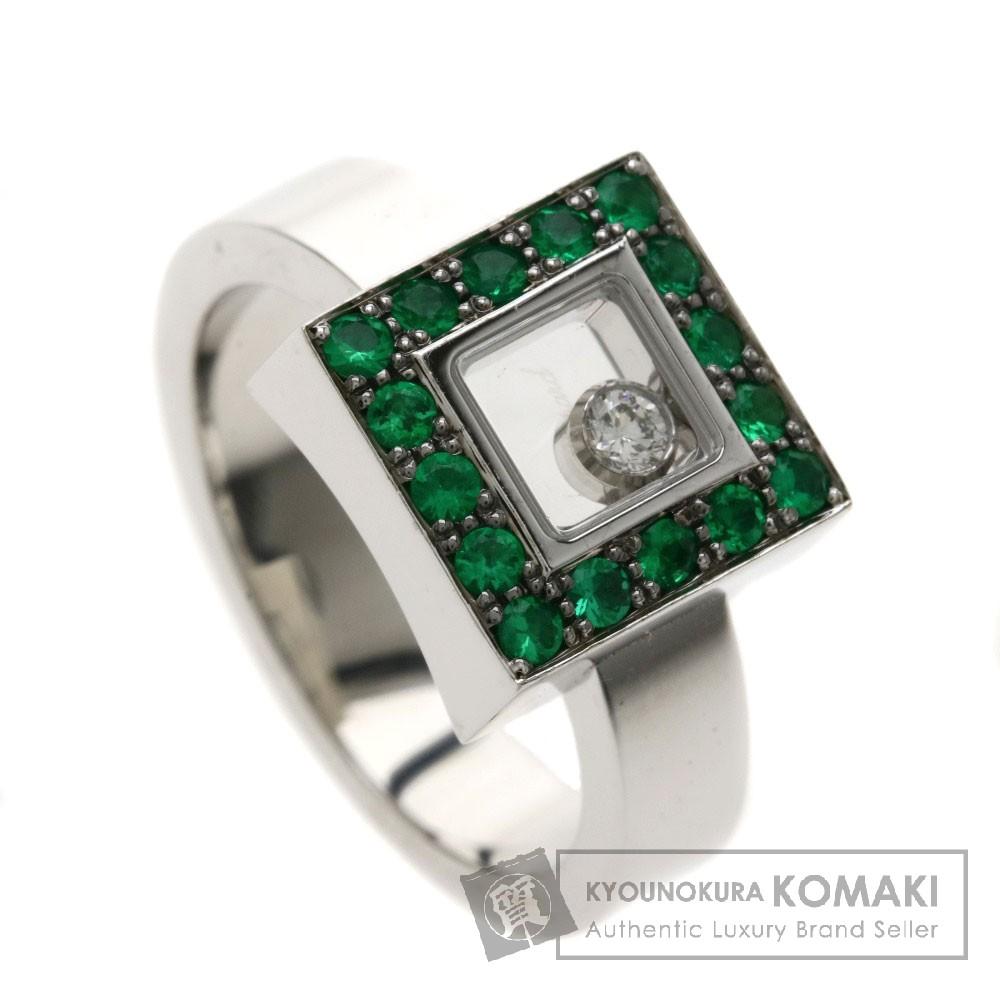Chopard ハッピーダイヤモンド エメラルド リング・指輪 K18ホワイトゴールド レディース 【中古】【ショパール】