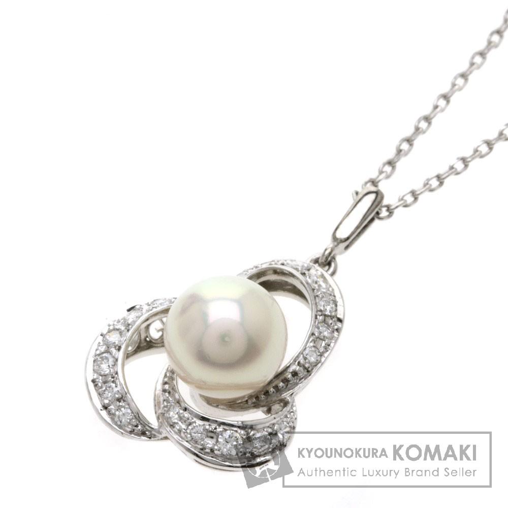 MIKIMOTO パール/真珠/ダイヤモンド ネックレス K14ホワイトゴールド レディース 【中古】【ミキモト】