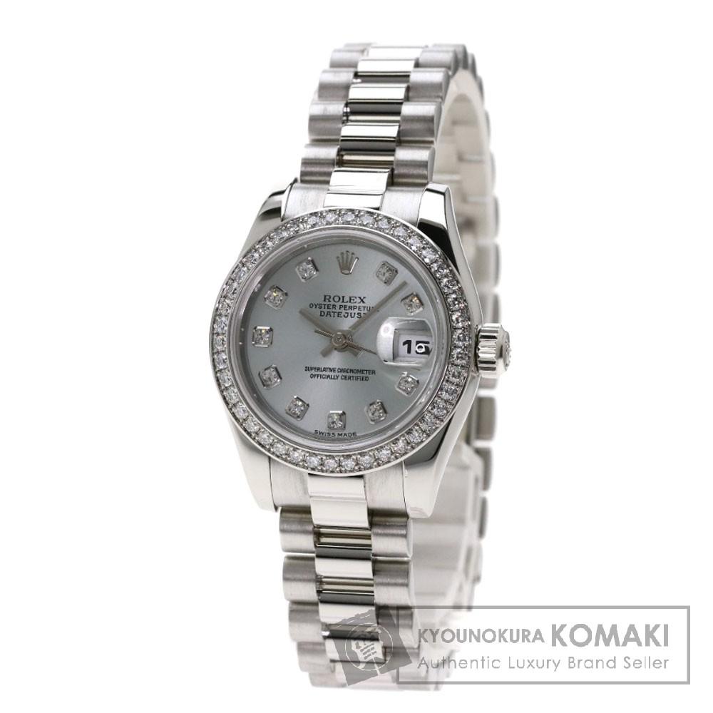 ROLEX 179136G デイトジャスト 腕時計 OH済 プラチナ/プラチナ/ダイヤモンド レディース 【中古】【ロレックス】