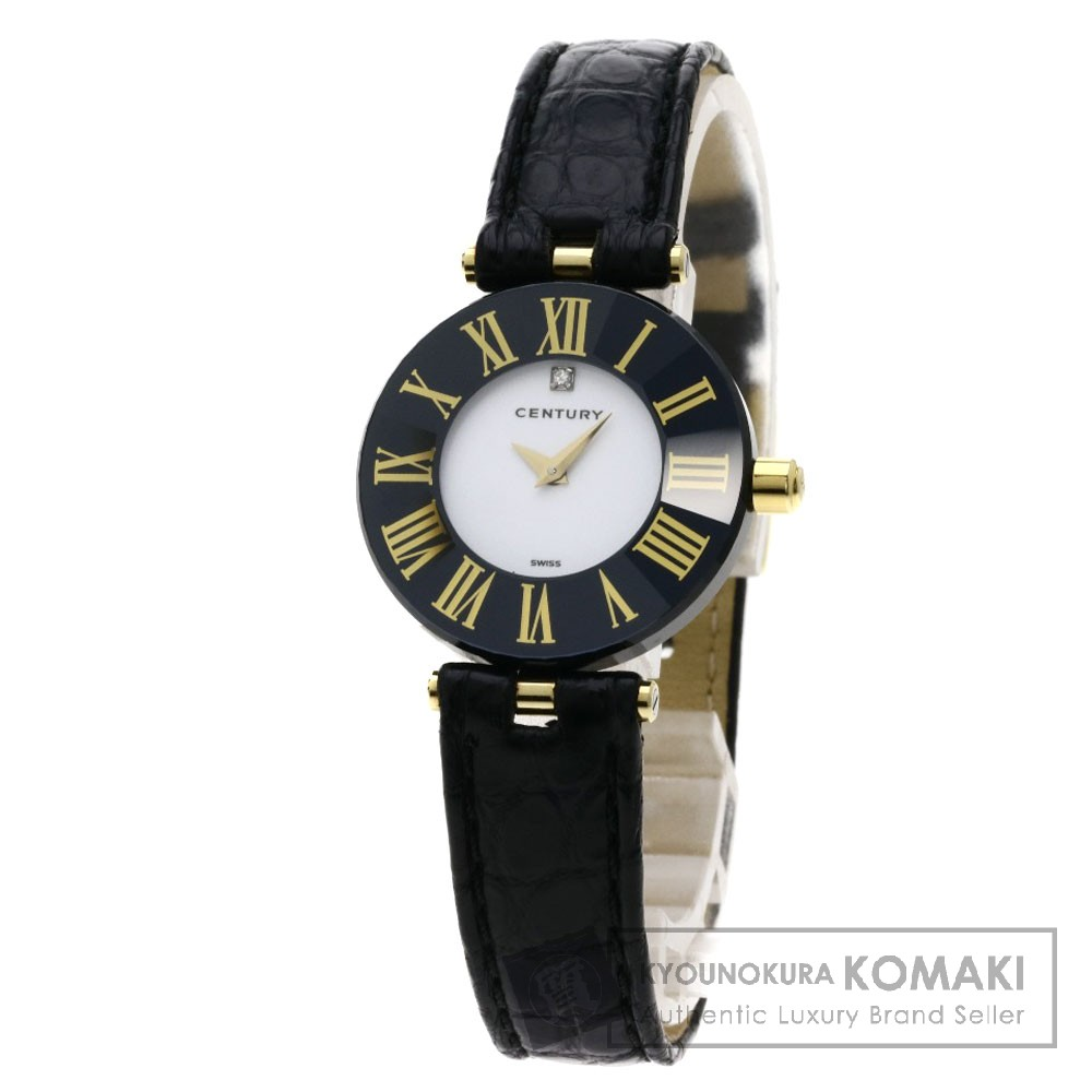 CENTURY タイムジェム1Pダイヤモンド 腕時計 セラミック/革 レディース 【中古】【センチュリー】