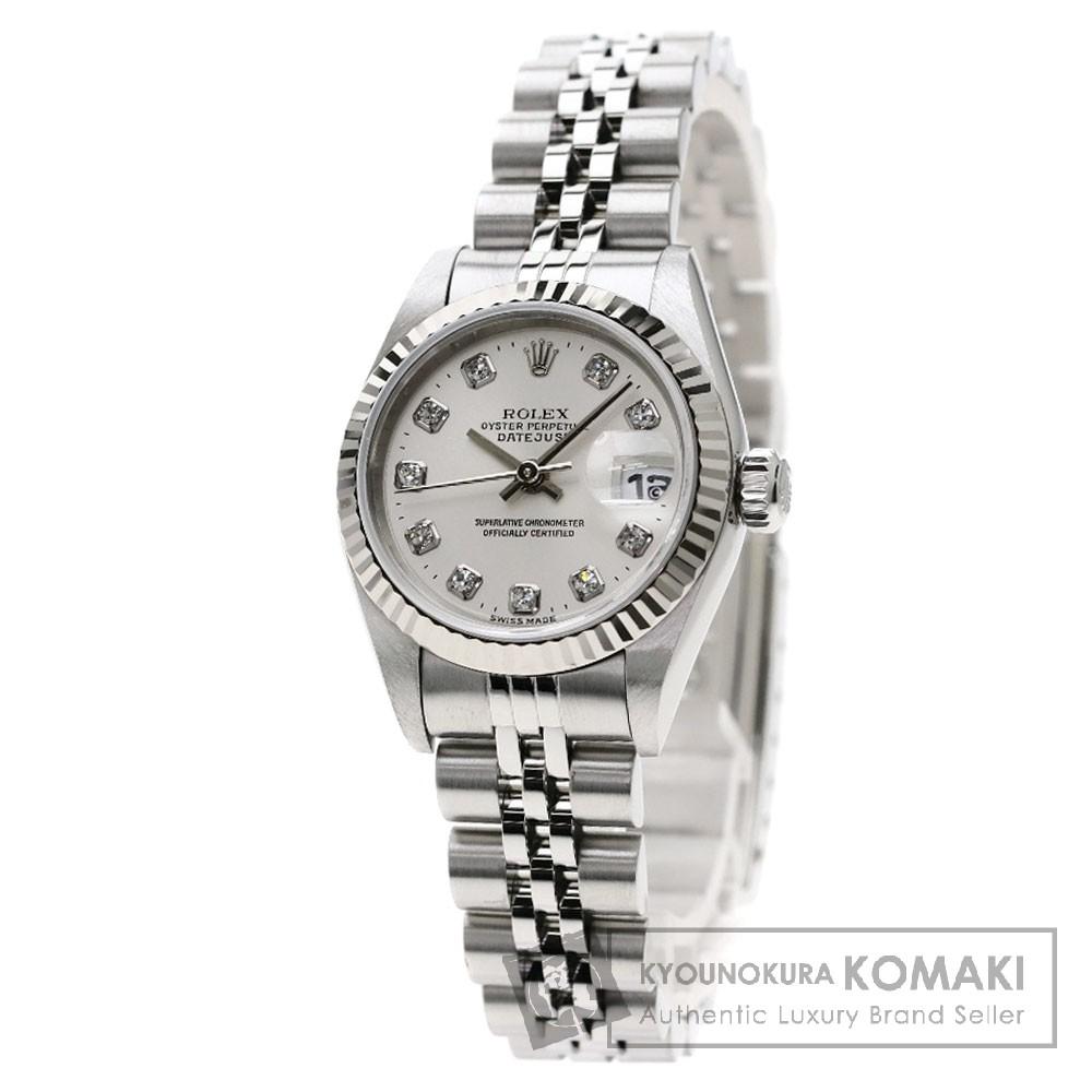 ROLEX 69174G デイトジャスト 10Pダイヤモンド 腕時計 OH済 ステンレススチール/SS レディース 【中古】【ロレックス】