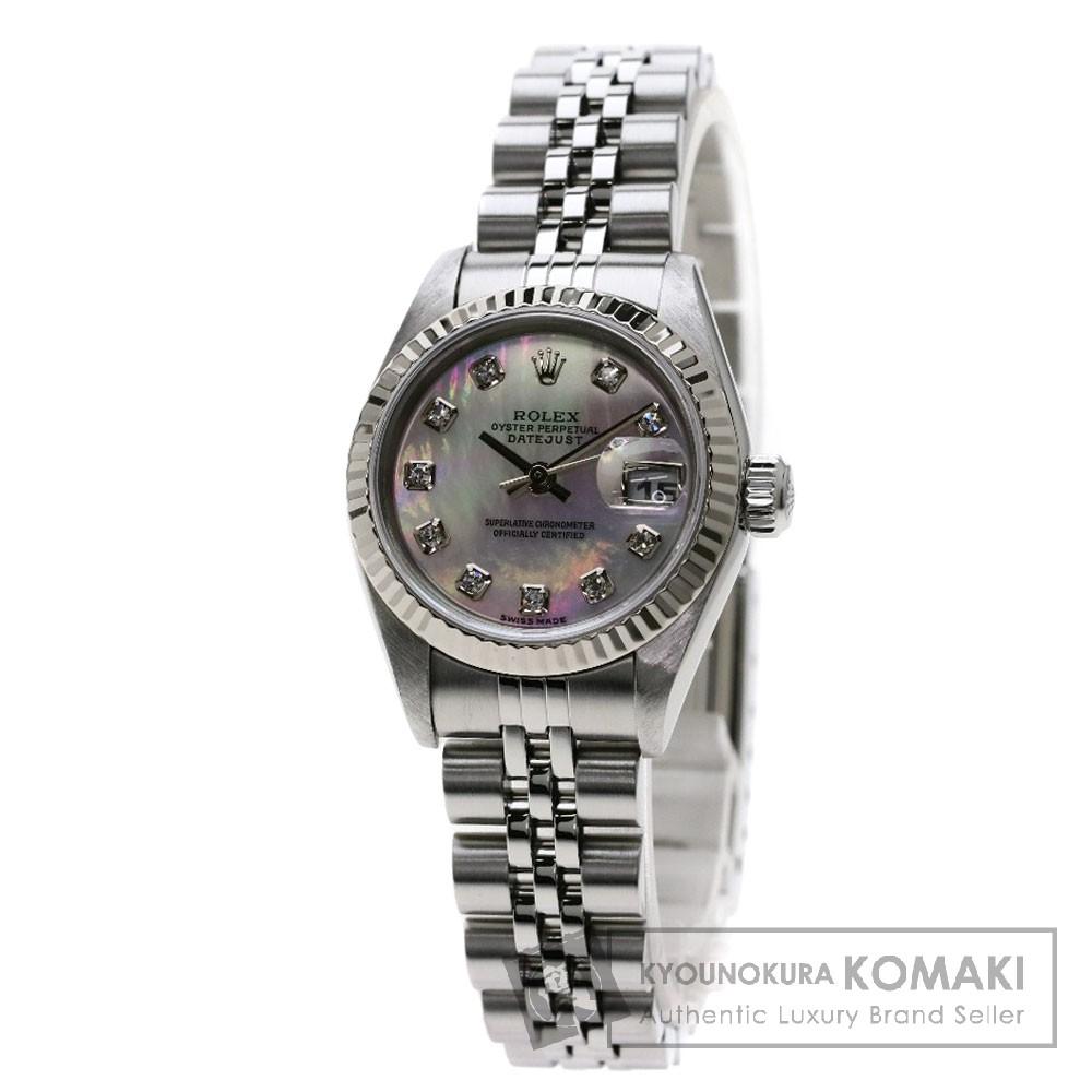 ROLEX 79174NG デイトジャスト 10Pダイヤモンド 腕時計 OH済 ステンレススチール/SS レディース 【中古】【ロレックス】