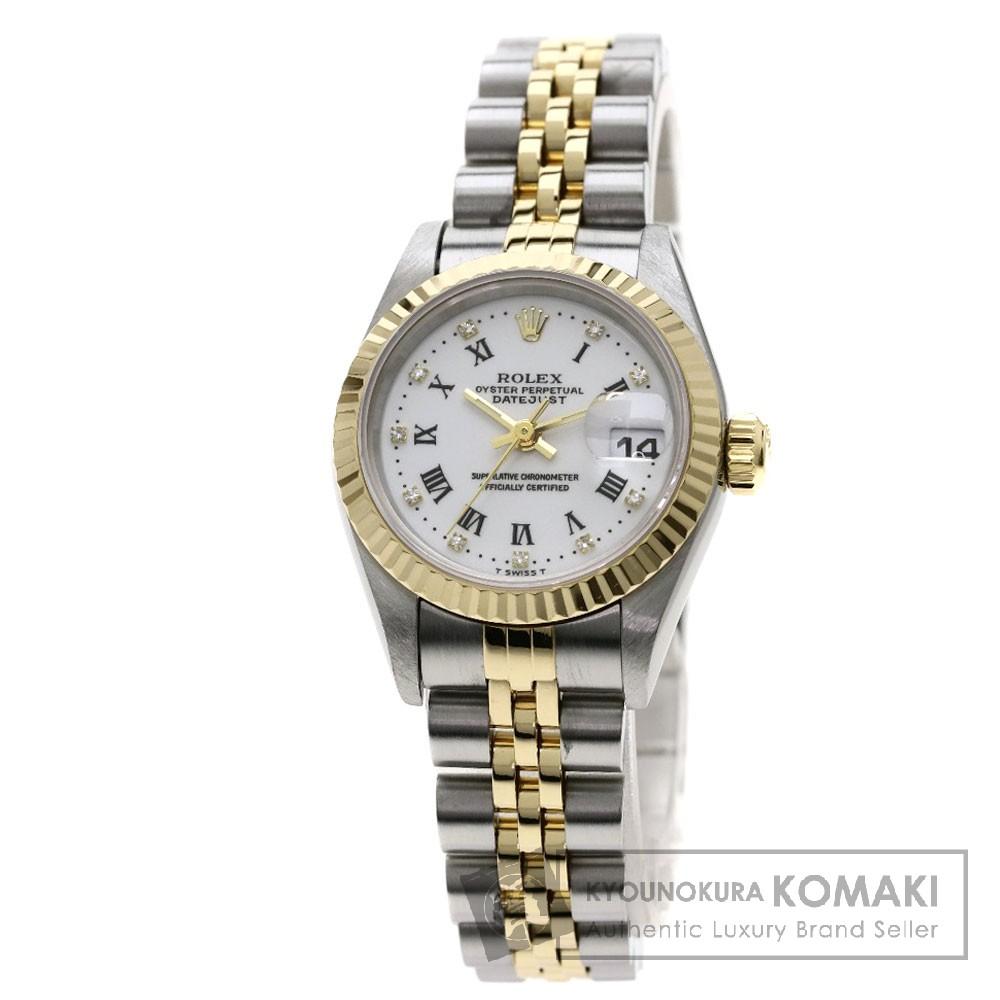 ROLEX 69173G デイトジャスト ローマン 腕時計 OH済 ステンレススチール/SSxK18YG レディース 【中古】【ロレックス】