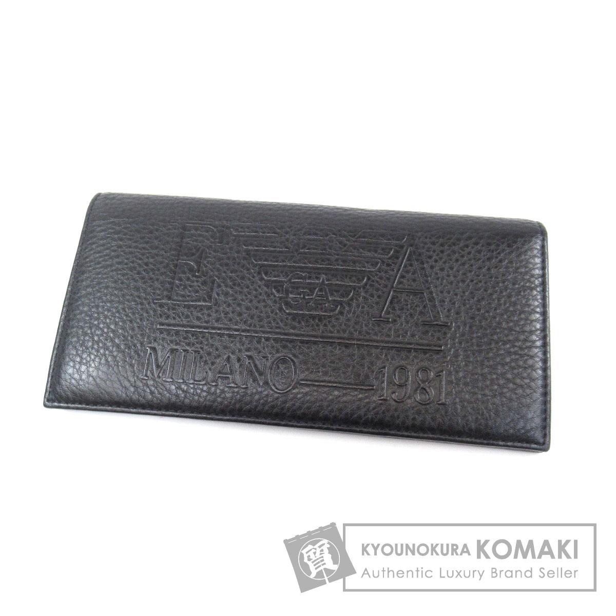 Emporio Armani ロゴ型押し 長財布(小銭入れあり) レザー メンズ 【中古】【エンポリオ・アルマーニ】