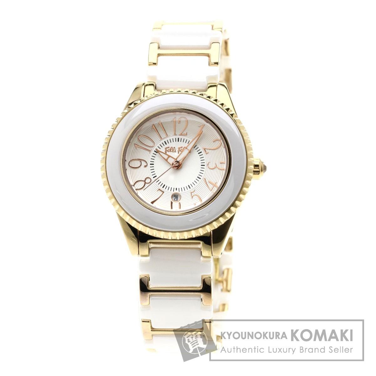 Folli Follie WF0B033BDW 腕時計 GP/セラミック レディース 【中古】【フォリフォリ】