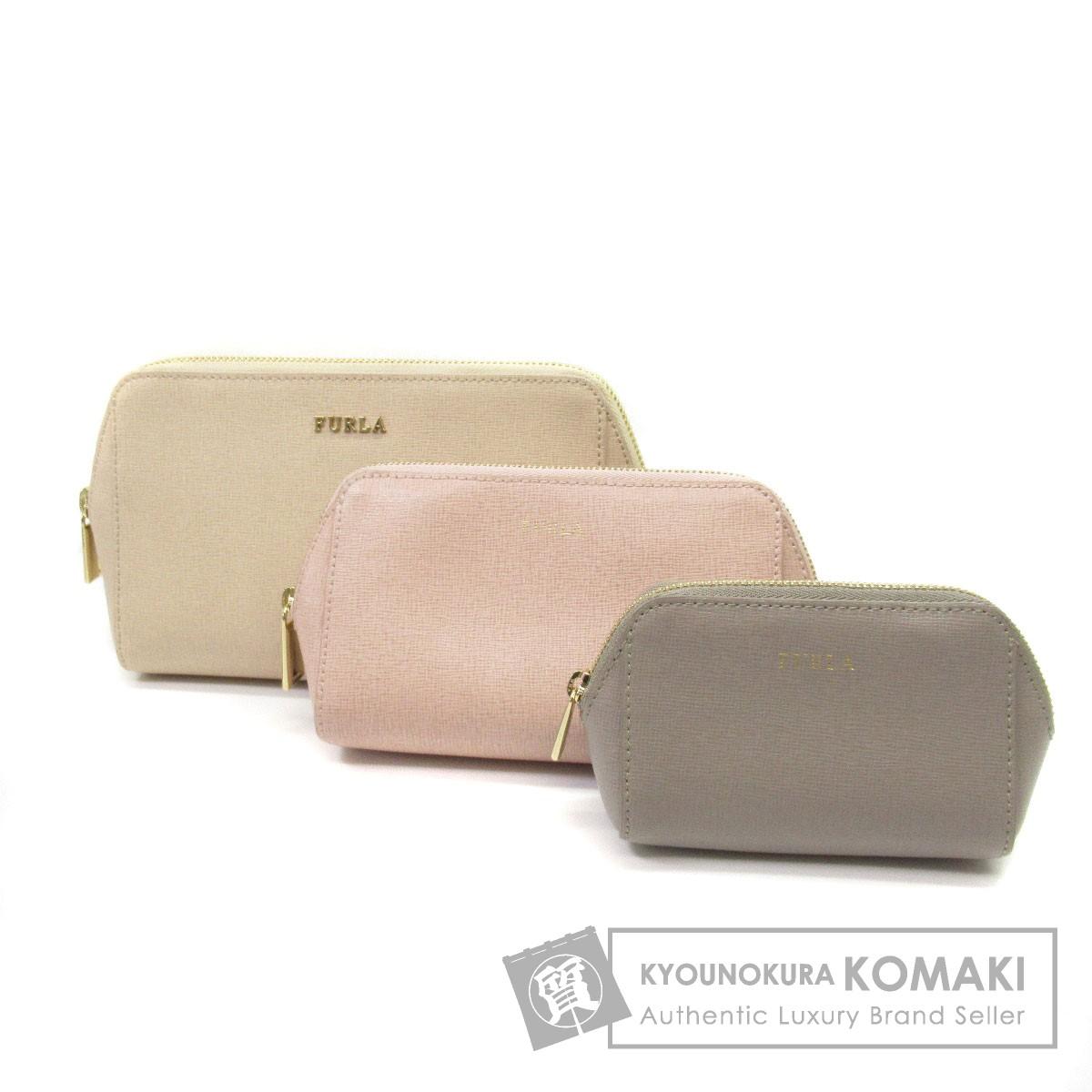 Furla ロゴマーク 3点セット 化粧ポーチ PVC レディース 【中古】【フルラ】