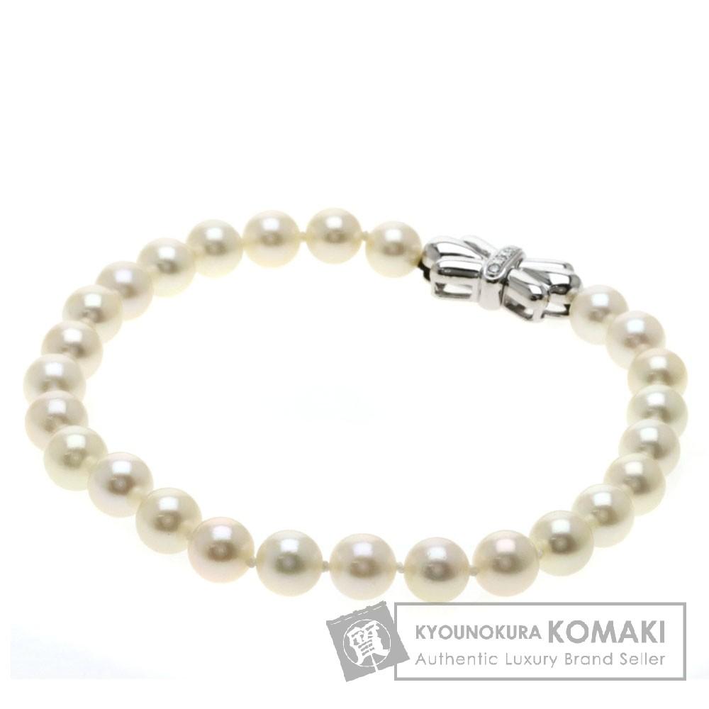 0.06ct パール/真珠/ダイヤモンド ブレスレット K14ホワイトゴールド 18.4g レディース 【中古】