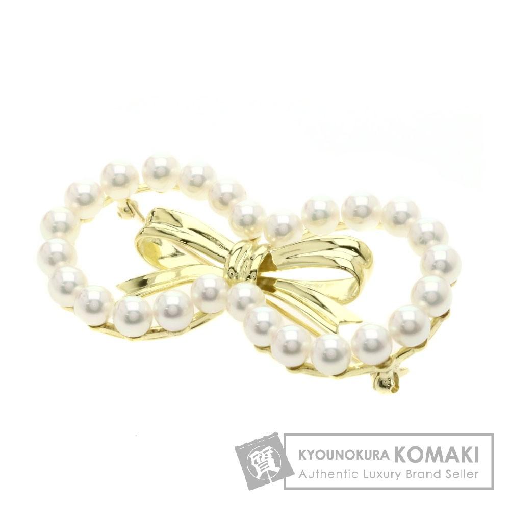 パール/真珠/リボン ブローチ K18イエローゴールド 14.4g レディース 【中古】
