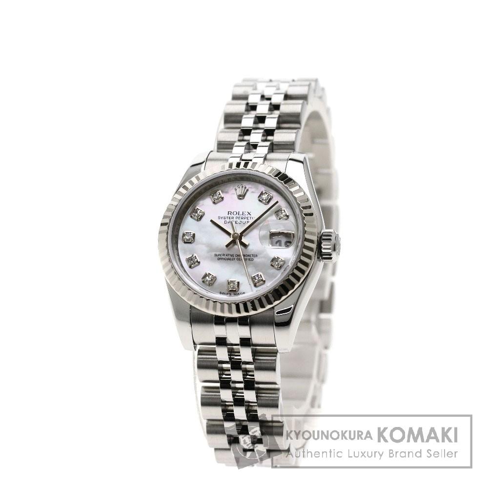 ROLEX 179174NG デイトジャスト 10Pダイヤモンド 腕時計 OH済 ステンレススチール/SS レディース 【中古】【ロレックス】