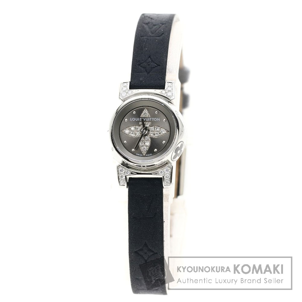 LOUIS VUITTON Q151K1 タンブール ビジュ ノワール/ダイヤモンド 腕時計 ステンレススチール/レザー レディース 【中古】【ルイ・ヴィトン】