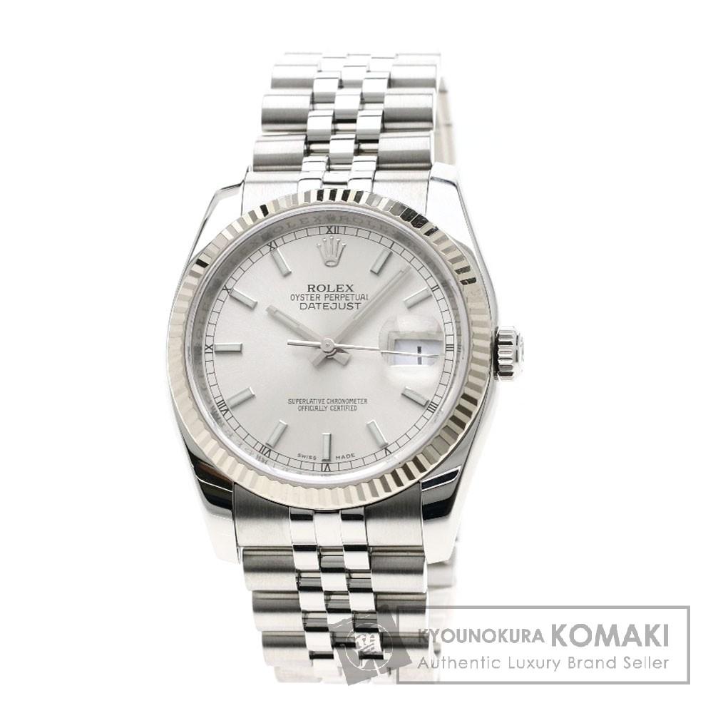ROLEX 116234 デイトジャスト 腕時計 OH済 ステンレススチール/WG メンズ 【中古】【ロレックス】