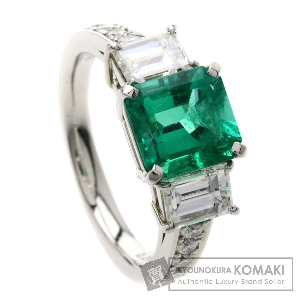 1.848ct コロンビア産エメラルド/ダイヤモンド リング・指輪 プラチナPT900 7.2g レディース 【中古】