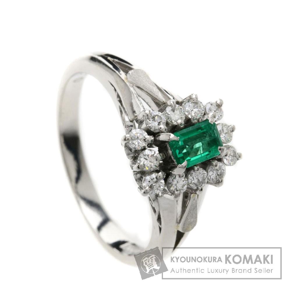 E エメラルド/ダイヤモンド リング・指輪 プラチナPT900 6.1g レディース 【中古】