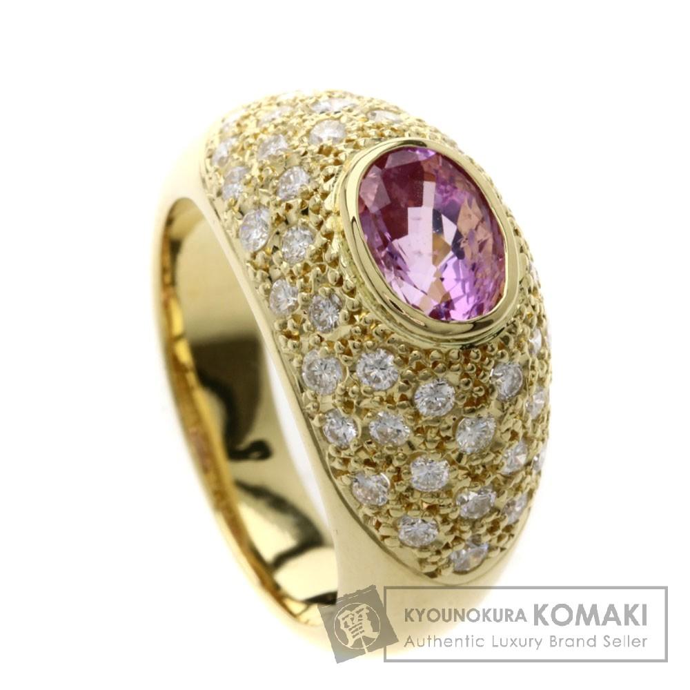 1.96ct ピンクサファイア/ダイヤモンド リング・指輪 K18イエローゴールド 10.7g レディース 【中古】