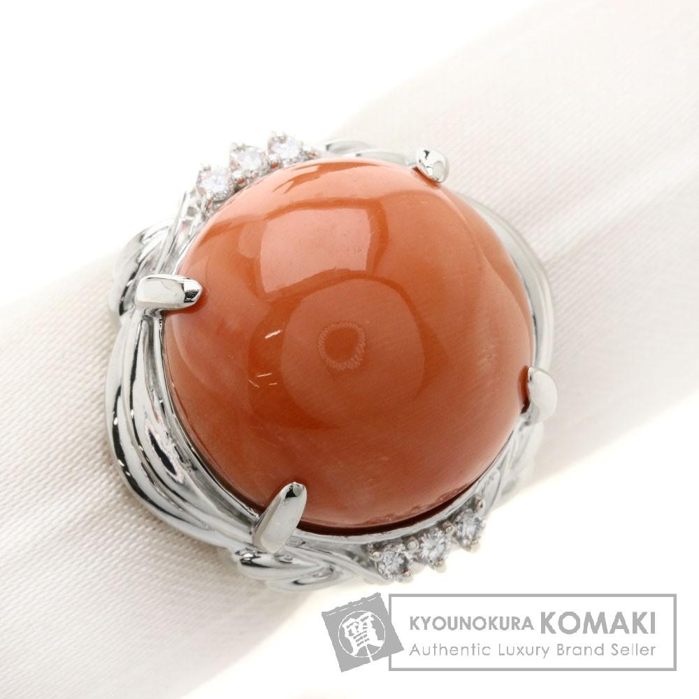 サンゴ/珊瑚/ダイヤモンド リング・指輪 プラチナPT900 13.7g レディース 【中古】