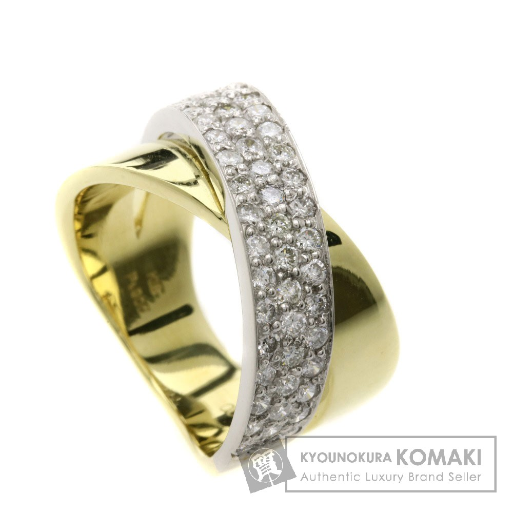 1ct ダイヤモンド リング・指輪 プラチナPT900/K18YG 10.7g レディース 【中古】