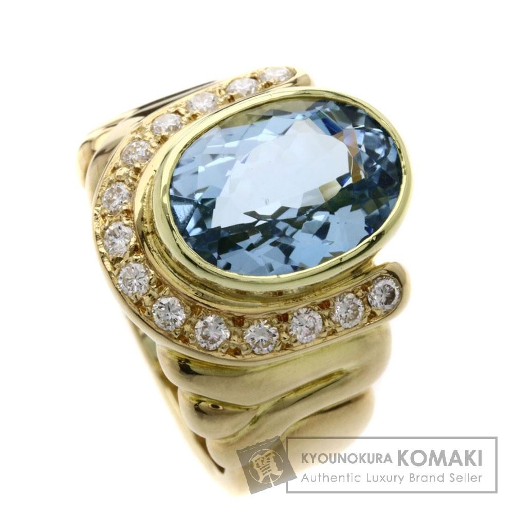 4.91ct アクアマリン/ダイヤモンド リング・指輪 K18イエローゴールド 10.7g レディース 【中古】