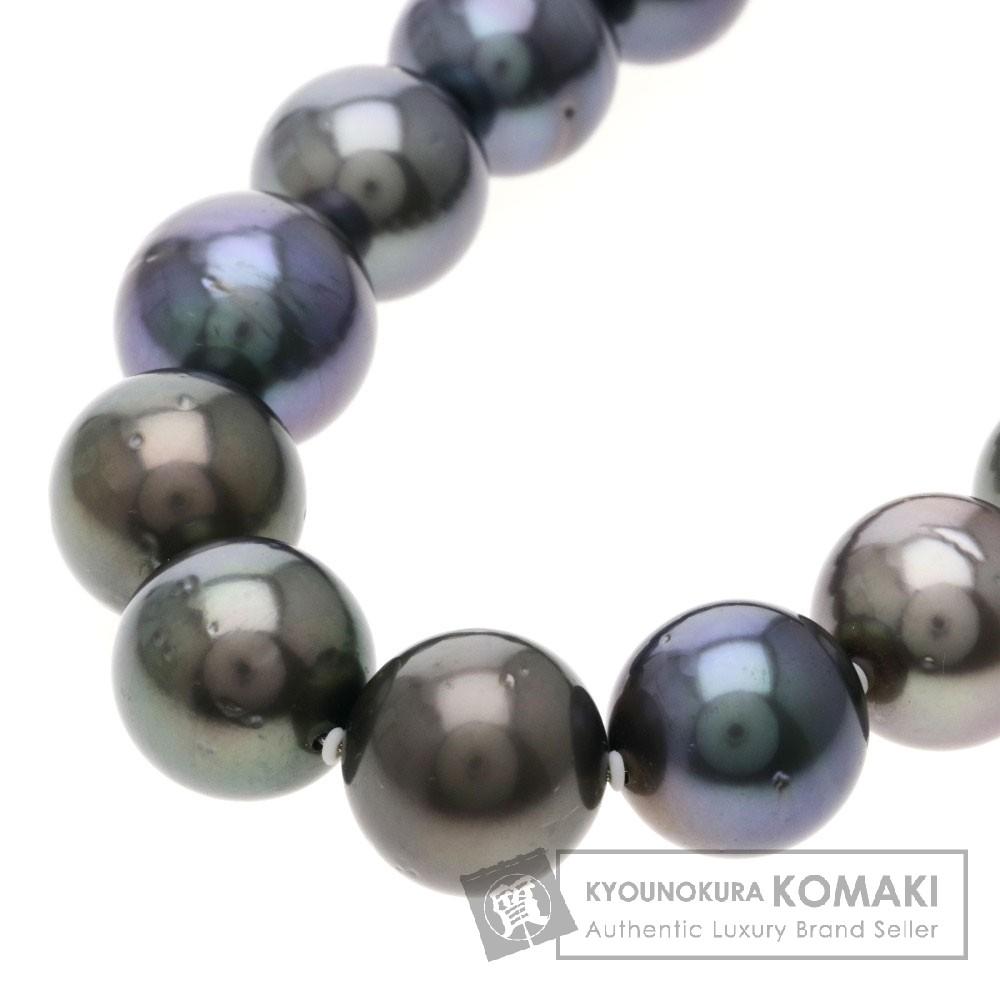 ブラックパール/真珠 ネックレス K14ホワイトゴールド 83.4g レディース 【中古】