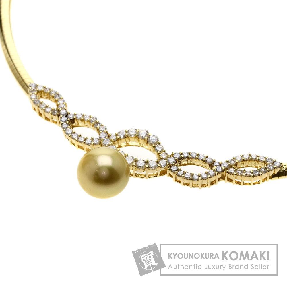 2.82ct パール/真珠/ダイヤモンド/オメガ ネックレス K18イエローゴールド 41.7g レディース 【中古】